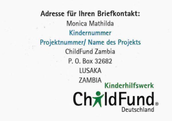 Brief Schreiben Childfund Deutschland